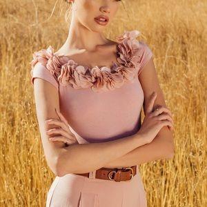 Pink flowery off shoulder bodysuit